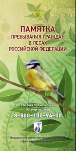 Памятка пребывания граждан в лесах Российской Федерации