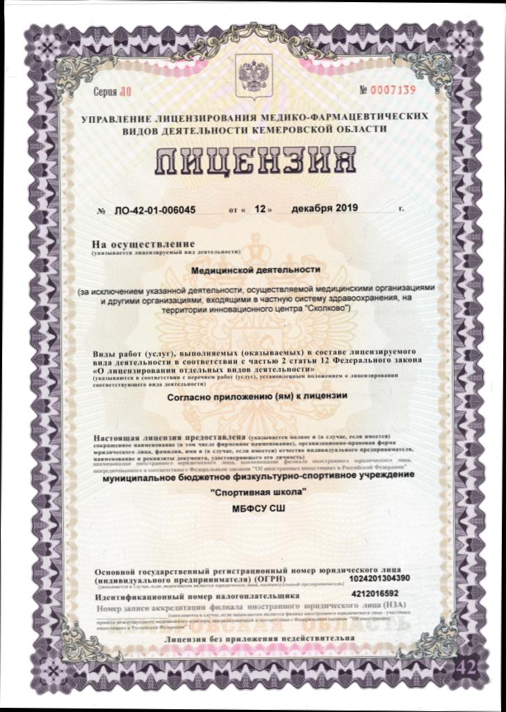 Лицензия на осуществление медицинской деятельности, стр. 1