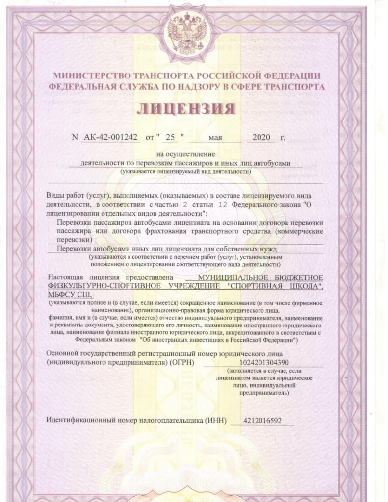 Лицензия на осуществление деятельности по перевозкам пассажиров и иных лиц автобусами, стр. 1