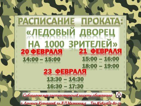Расписание проката на 20, 21, 23 февраля Ледовый Дворец